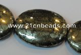 CPY313 15.5 inches 30*40mm oval pyrite gemstone beads wholesale