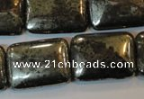 CPY325 15.5 inches 18*25mm rectangle pyrite gemstone beads wholesale