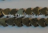 CPY330 15.5 inches 6*6mm heart pyrite gemstone beads wholesale