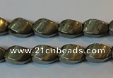 CPY346 15.5 inches 8*12mm twisted rice pyrite gemstone beads wholesale