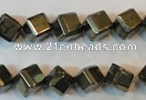 CPY362 15.5 inches 8*8mm faceted cube pyrite gemstone beads