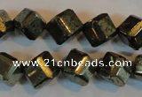 CPY363 15.5 inches 10*10mm faceted cube pyrite gemstone beads