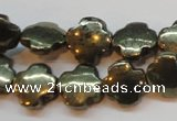 CPY373 15 inches 12*12mm cross pyrite gemstone beads