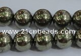 CPY405 15.5 inches 12mm round pyrite gemstone beads wholesale
