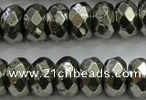 CPY430 15.5 inches 6*10mm faceted rondelle pyrite gemstone beads
