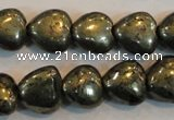 CPY51 16 inches 10*10mm heart pyrite gemstone beads wholesale