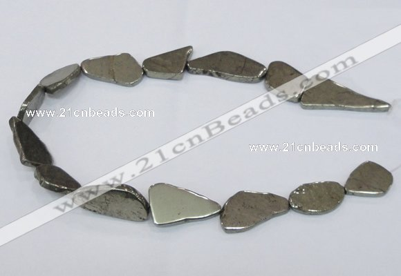 CPY585 15.5 inches 18*25mm - 16*35mm freeform pyrite gemstone beads