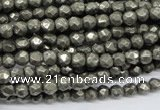 CPY60 15.5 inches 5mm faceted round pyrite gemstone beads wholesale