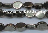 CPY641 15.5 inches 8*10mm oval pyrite gemstone beads wholesale