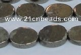 CPY643 15.5 inches 12*16mm oval pyrite gemstone beads wholesale