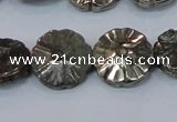 CPY661 15.5 inches 16mm carved flower pyrite gemstone beads