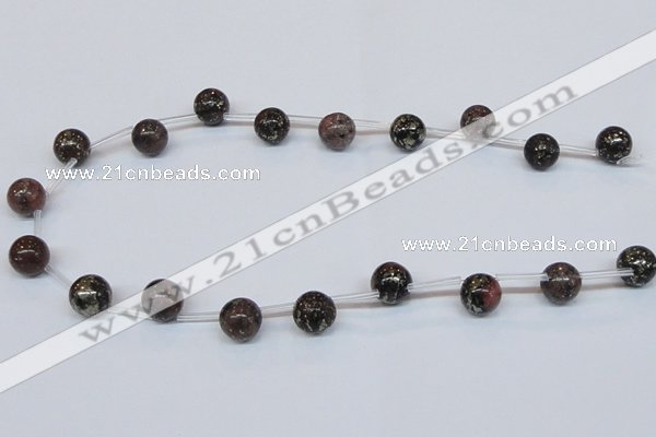 CPY780 Top drilled 10mm round pyrite gemstone beads wholesale