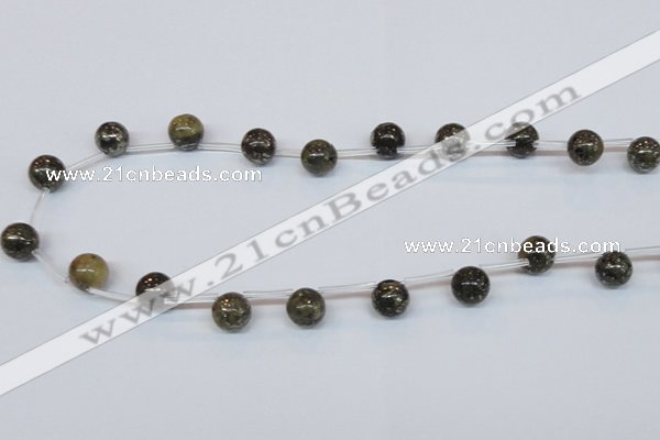 CPY782 Top drilled 10mm round pyrite gemstone beads wholesale