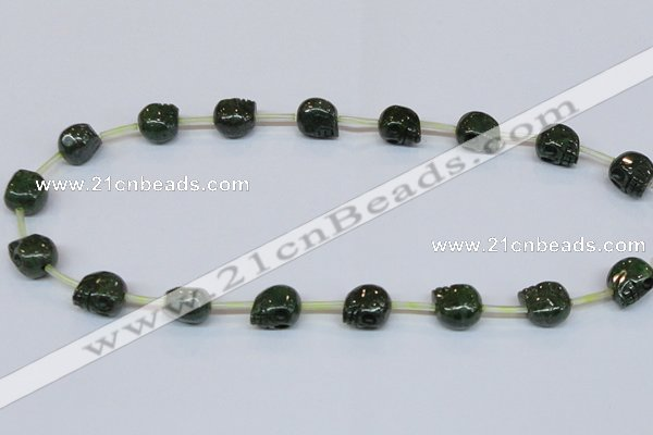 CPY793 Top drilled 8mm carved skull pyrite gemstone beads