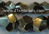 CPY81 15.5 inches 8mm - 16mm faceted nuggets pyrite gemstone beads