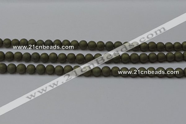 CPY813 15.5 inches 4mm round matte pyrite beads wholesale