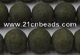 CPY817 15.5 inches 12mm round matte pyrite beads wholesale