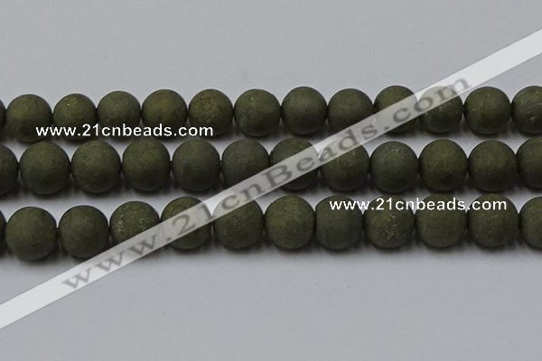 CPY820 15.5 inches 18mm round matte pyrite beads wholesale