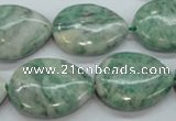 CQJ66 15.5 inches 18*25mm flat teardrop Qinghai jade beads wholesale