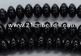 CRB09 15.5 inches 6*10mm rondelle black agate gemstone beads