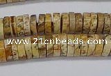 CRB1017 15.5 inches 2*6mm heishi picture jasper beads wholesale