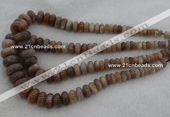 CRB1112 15.5 inches 5*8mm - 9*18mm rondelle moonstone beads