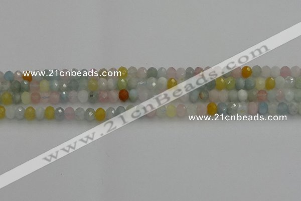 CRB1213 15.5 inches 4*6mm faceted rondelle morganite beads