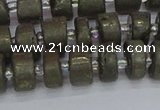 CRB1260 15.5 inches 6*10mm tyre matte pyrite gemstone beads
