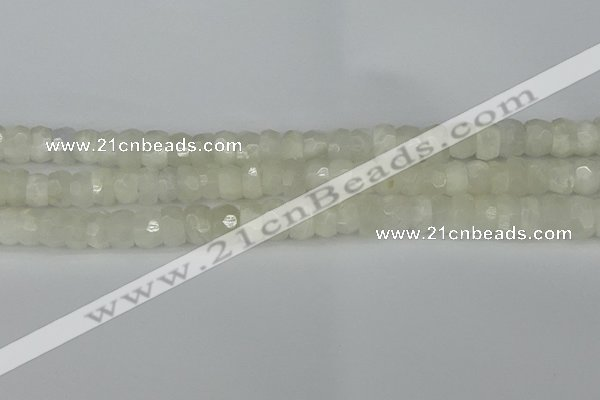 CRB1280 15.5 inches 6*10mm faceted rondelle white moonstone beads