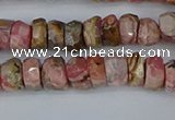 CRB1282 15.5 inches 4*6mm faceted rondelle rhodochrosite beads