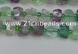 CRB1286 15.5 inches 4*6mm faceted rondelle fluorite beads