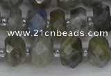 CRB1296 15.5 inches 6*10mm faceted rondelle labradorite beads