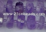 CRB1331 15.5 inches 6*10mm faceted rondelle lavender amethyst beads
