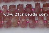 CRB1341 15.5 inches 6*10mm faceted rondelle strawberry quartz beads