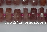 CRB1342 15.5 inches 6*12mm faceted rondelle strawberry quartz beads