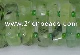 CRB1351 15.5 inches 6*10mm faceted rondelle green rutilated quartz beads