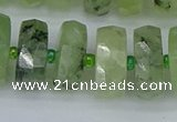 CRB1355 15.5 inches 8*18mm faceted rondelle green rutilated quartz beads