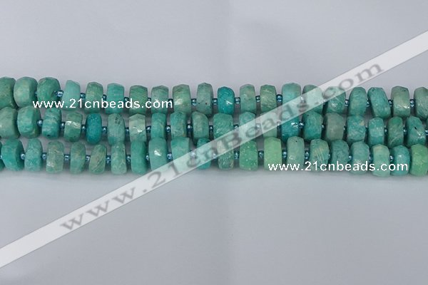 CRB1371 15.5 inches 6*10mm faceted rondelle amazonite beads