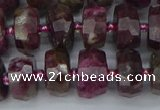 CRB1402 15.5 inches 6*12mm faceted rondelle tourmaline beads