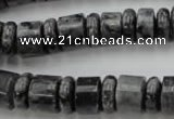 CRB147 15.5 inches 6*12mm & 10*12mm rondelle black labradorite beads
