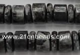 CRB160 15.5 inches 5*14mm & 10*14mm rondelle black labradorite beads