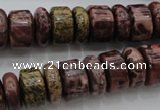 CRB181 15.5 inches 5*14mm – 10*14mm rondelle red artistic jasper beads