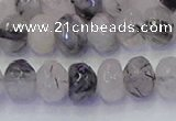 CRB1817 15.5 inches 5*8mm faceted rondelle black rutilated quartz beads