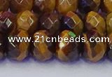 CRB1842 15.5 inches 6*10mm faceted rondelle yellow tiger eye beads