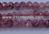CRB1864 15.5 inches 2.5*4mm faceted rondelle strawberry quartz beads
