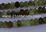 CRB1919 15.5 inches 2.5*4mm faceted rondelle green garnet beads