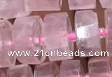 CRB2006 15.5 inches 9mm - 10mm faceted tyre rose quartz beads