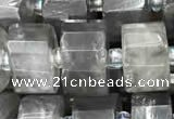 CRB2026 15.5 inches 9mm - 10mm faceted tyre cloudy quartz beads