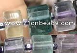 CRB2047 15.5 inches 11mm - 12mm faceted tyre fluorite gemstone beads