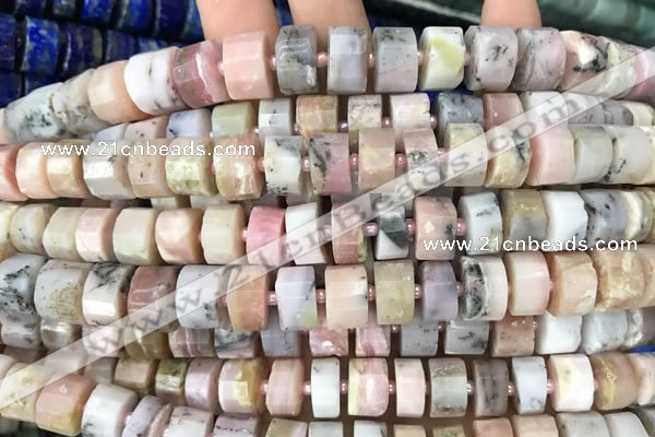 CRB2072 15.5 inches 11mm - 12mm faceted tyre pink opal beads